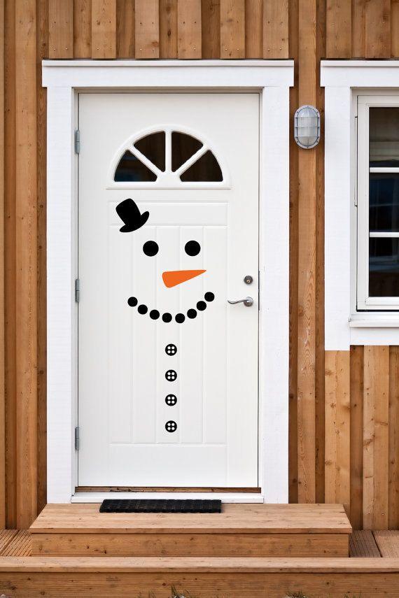 Snowman Door Decal & Snowman Decorating Ideas For Christmas | Snowman door Snowman and Xmas