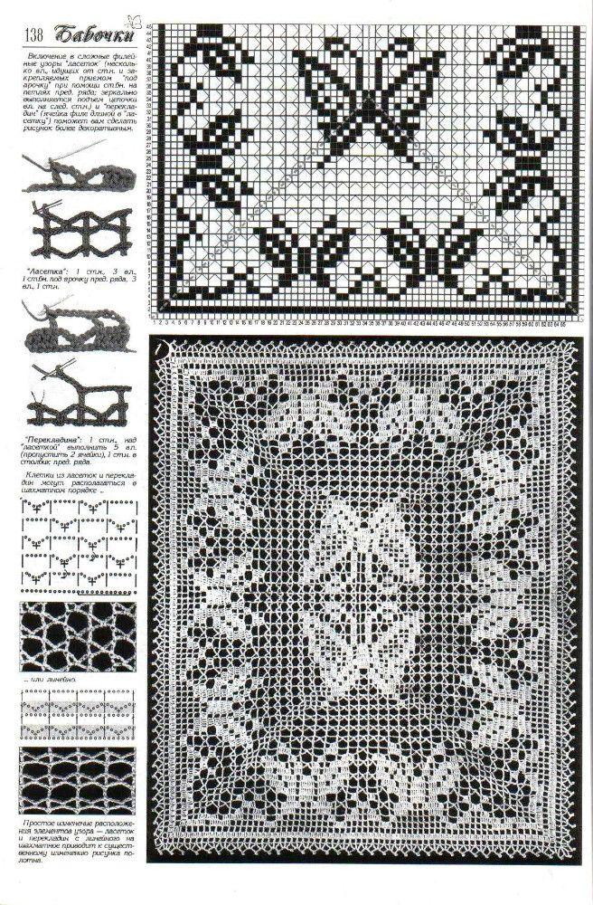 filet häkeln Schmetterling... filet crochet pattern | Häkeln ...
