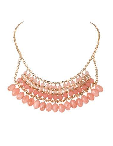cleo - Short Peach Bead Bib Necklace