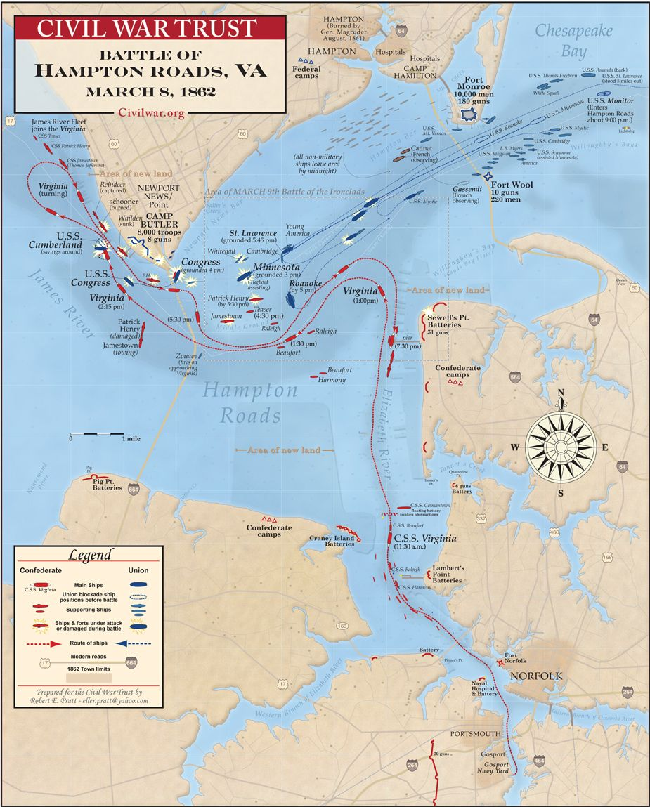 Battle of Hampton Roads  Wikipedia