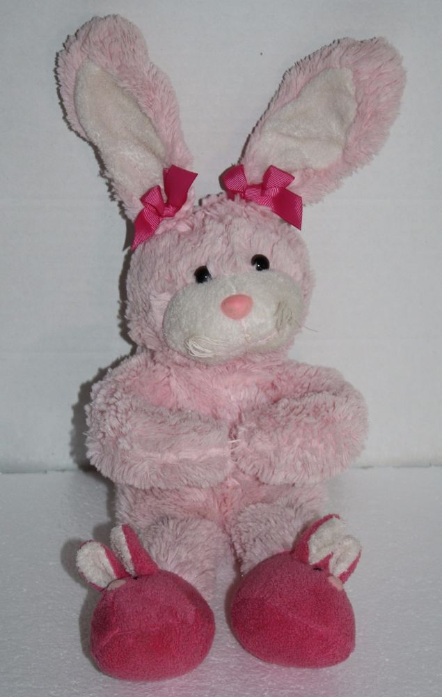 Soft And Sweet Animal Adventure Easter Bunny Rabbit Shes About 13 Tall From Her Head To Toe Pretty Pink Plush Slipper Feet Toy With Bows On