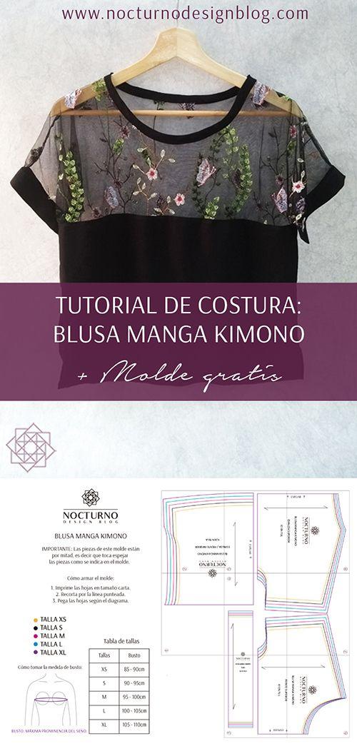 Blusa en tul manga kimono + molde gratis