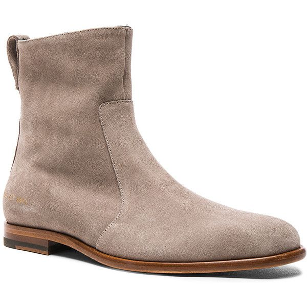 Robert Geller x Common Projects Suede Chelsea Boots ($730) ❤ liked on Polyvore featuring men's fashion, men's shoes, men's boots, boots, mens leather sole shoes, mens side zipper boots, mens side zip boots, mens suede shoes and mens suede boots