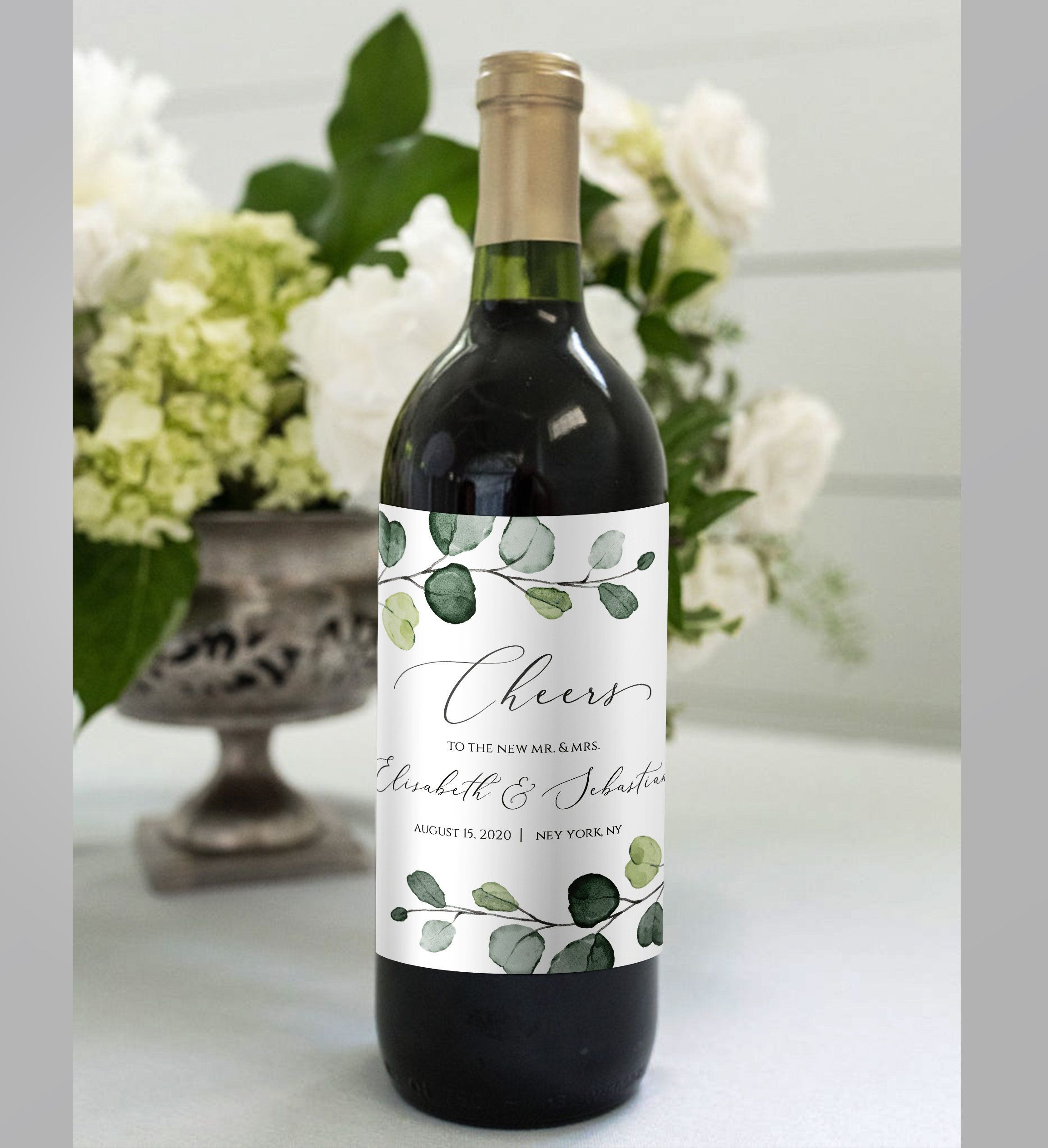 Thank You Wedding Wine Bottle Labels Favor Wine Label Editable Template Thank You Wine Label Wine Label Printable Shower Favors DIY Greenery