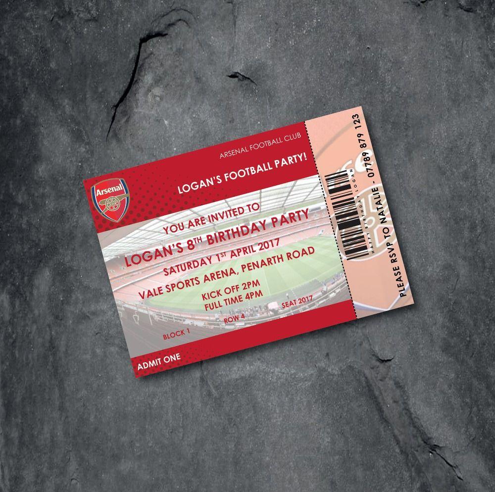 Arsenal Football Invitation Ebay Free P P Football Invitations Invitations Personalized Football