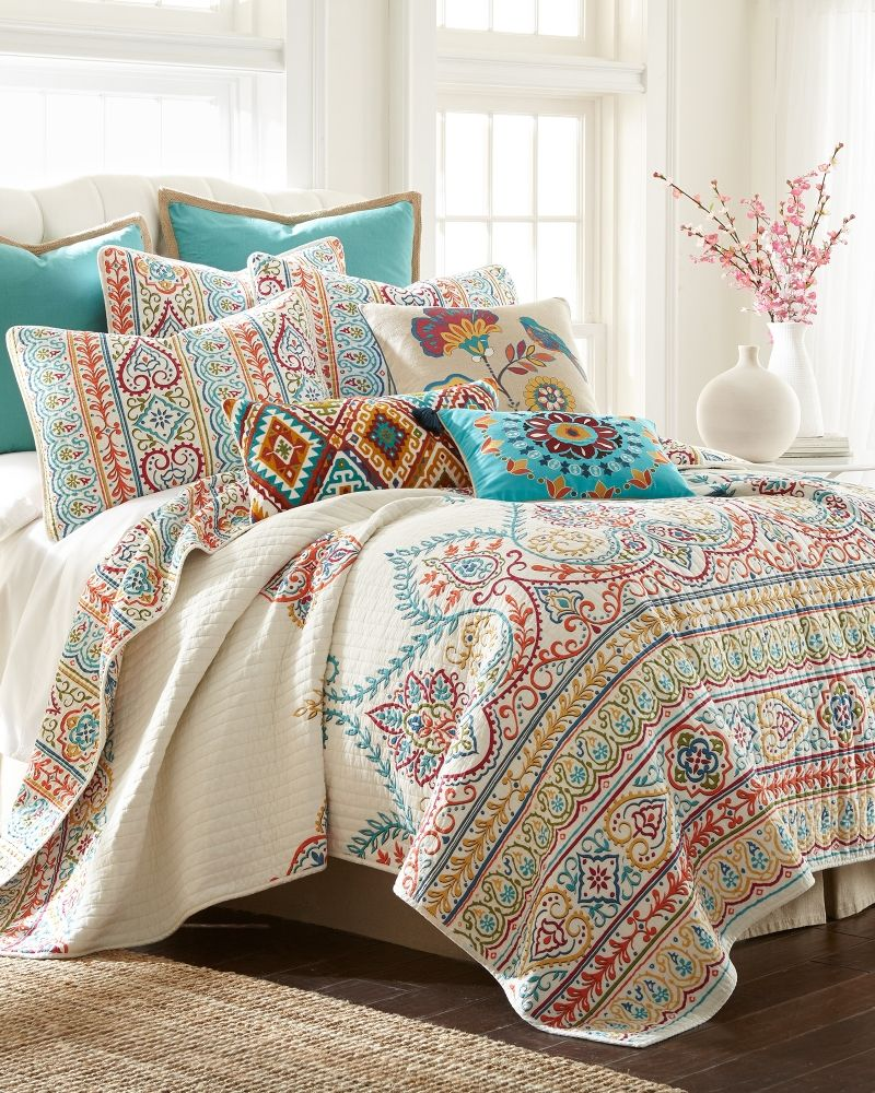 w king pin quilts paisley set pillows shams floral quilt cotton