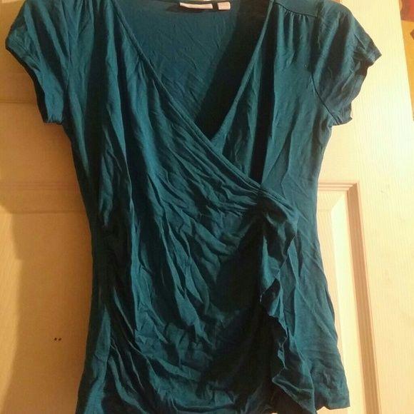 New York and company ruffle v-neck blouse Blue New York and company v-neck ruffle blouse New York & Company Tops Blouses