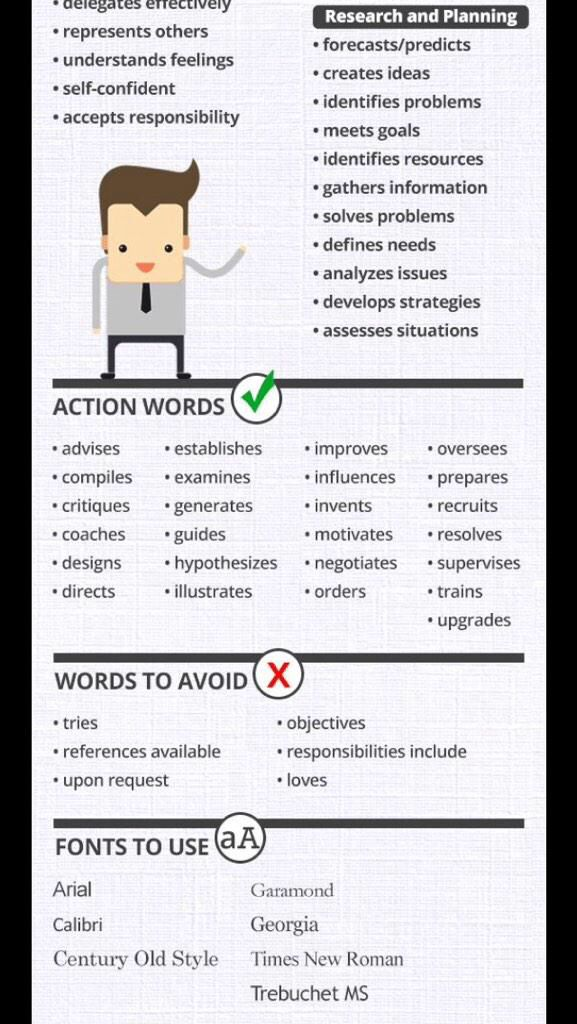 Resume tips 1 Resume Design Pinterest - action words for resumes