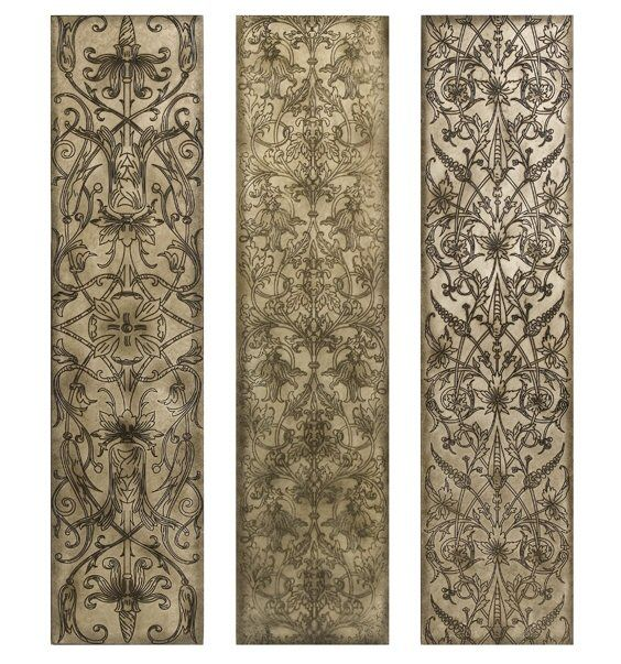 Charmant Filigree Pattern Black And White Wood Wall Art Panels, Set Of 3   Wall Decor