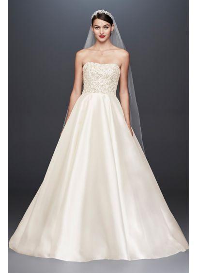 Crystal Encrusted Mikado Ball Gown Wedding Dress Cwg791