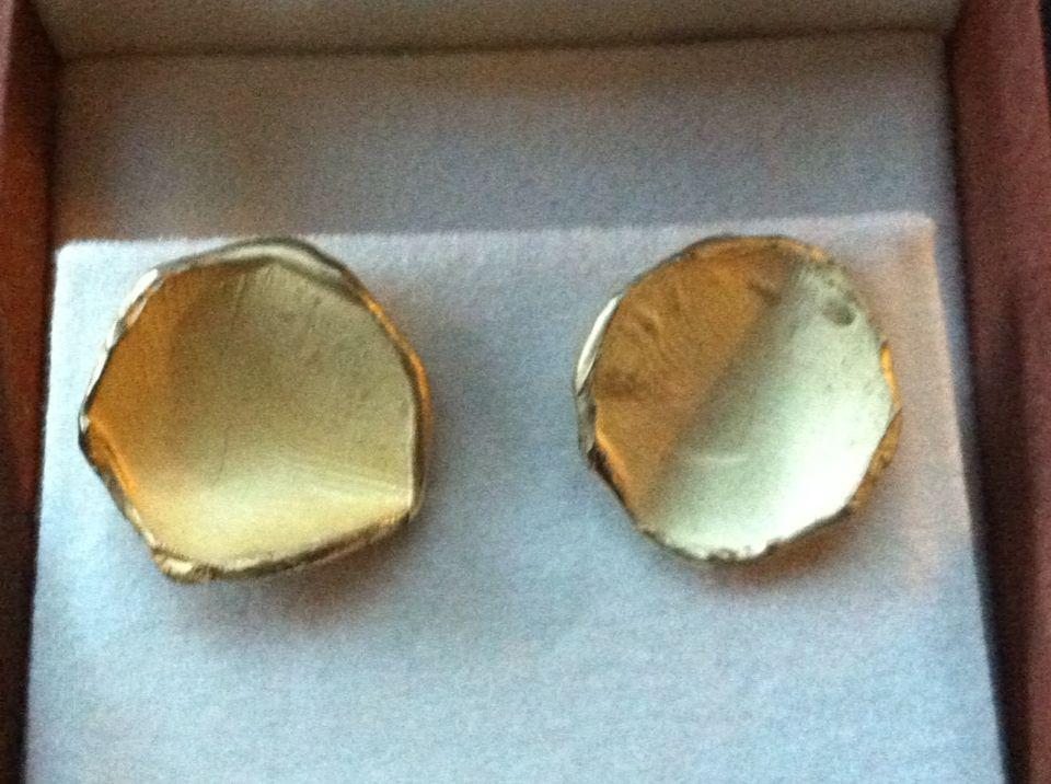 Geel gouden oorbellen met vingerafdruk  vd kinderen