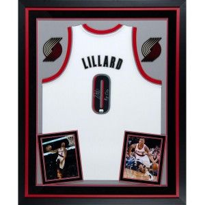 507d76cb1 Damian Lillard Portland Trail Blazers Autographed Deluxe Framed Adidas  White Jersey with Rip City Inscription from ManCaveGiant.com