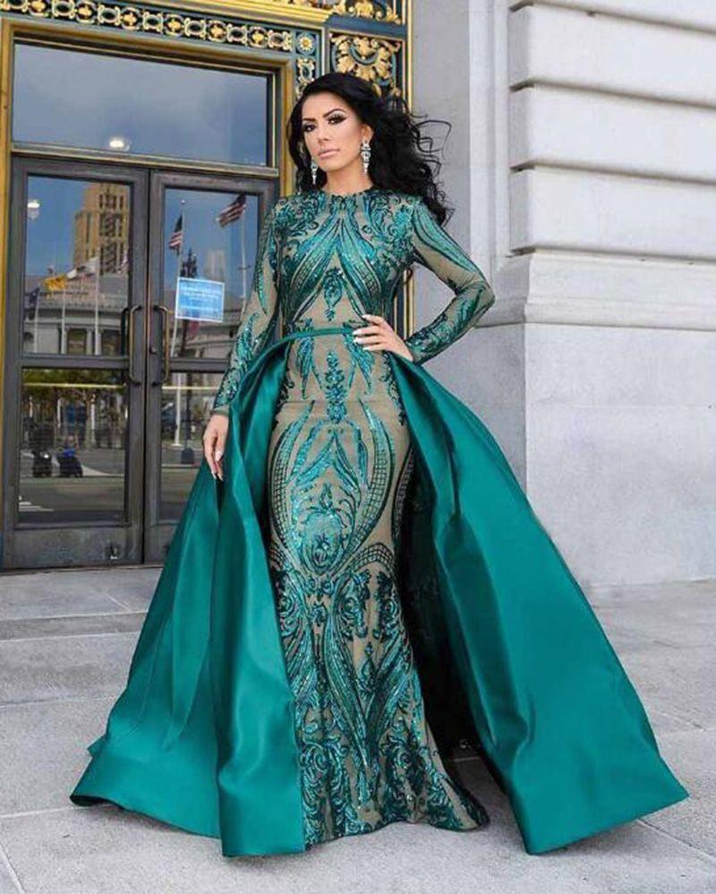 Prom Dress With Detachable Train: Luxury Mermaid Green Sequins Arabic Evening Dresses Women