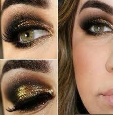 Maquillaje de noche para vestido negro con dorado