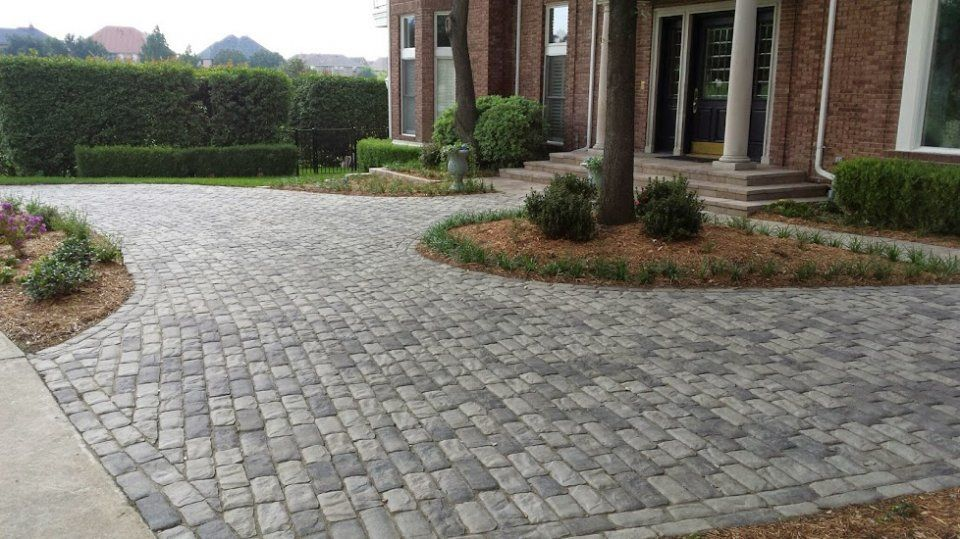 Image Result For Gray Pavers With Brick House Front