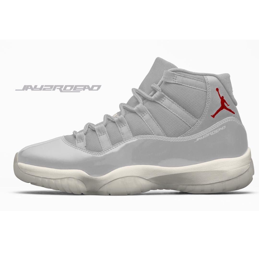 "06a4d43b6e3f77 zSneakerHeadz on Instagram  ""OCTOBER 2018. Air Jordan Retro 11 Platinum  Tint Sail-University Red 378037-016 📝   soleheatonfeet x  zsneakerheadz  Pictured is ..."