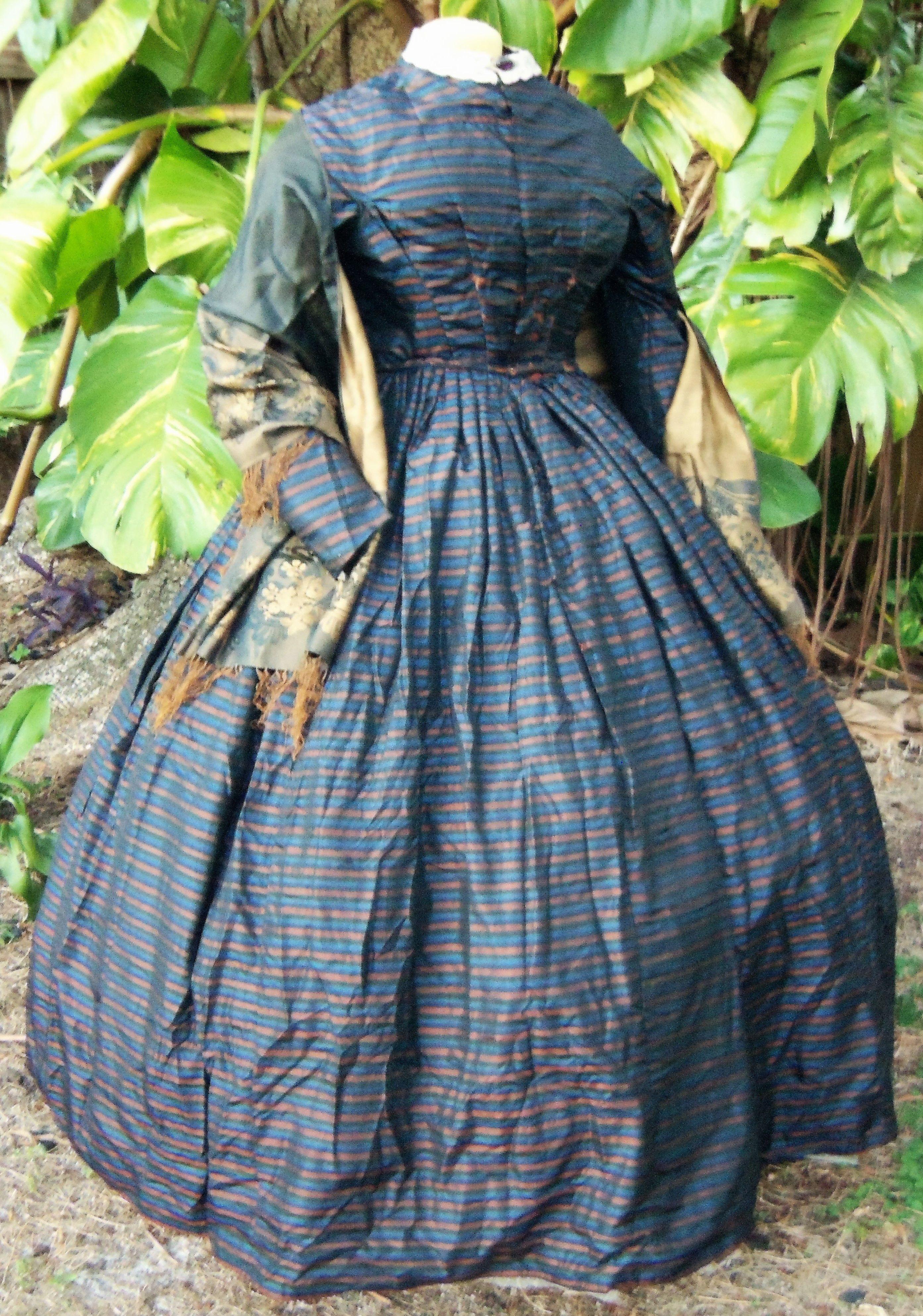 Striped Dress C 1858 With Silk Shawl C 1860s Vintage Formal Dresses Dresses Womens Dresses [ 3973 x 2786 Pixel ]