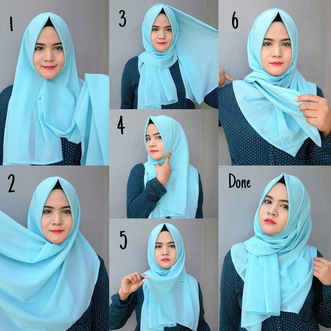 Blue Easy Simple Hijab Tutorial Tutorial Hijab Modern Simple