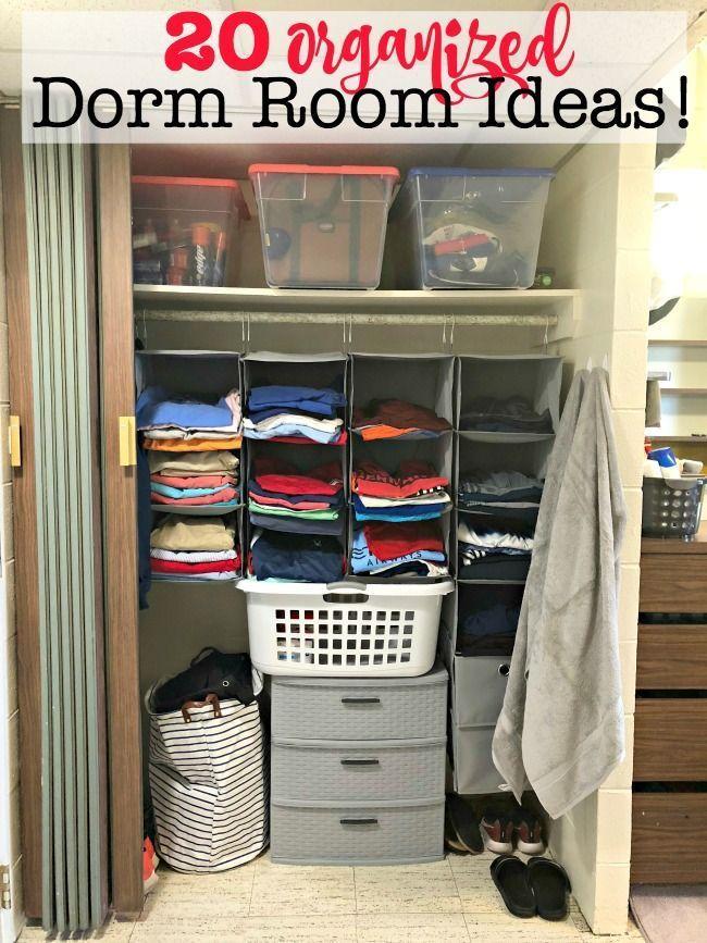 Dorm Room Checklist {free printable! } / 20+ Organized Dorm Room Ideas!