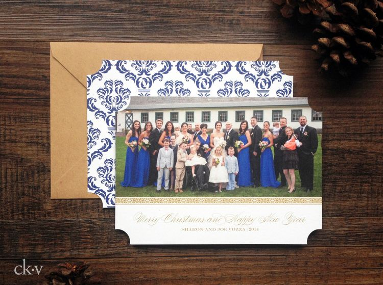Elegant and rustic large family holiday card with gold and cobalt blue by Catherine Kiff-Vozza, Couture Stationer #ckv