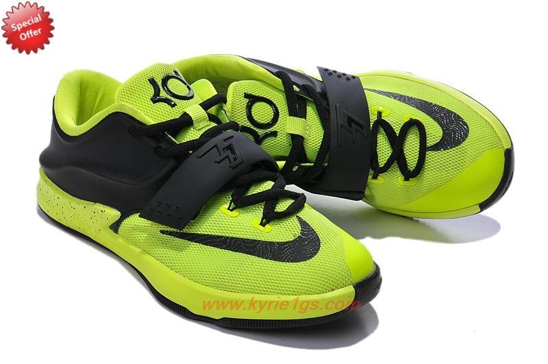 Where To Get Nike KD VII (7) Kids Shoes Custom Black/Volt Green