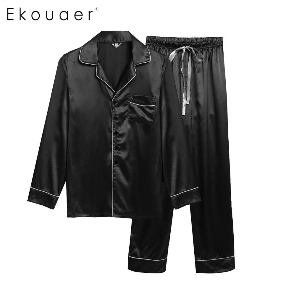 53c150e187 Ekouare Mens Long Sleeve Pajamas male sleepwear tops Homewear Man Casual  shirt clothing Pajamas Turn Down
