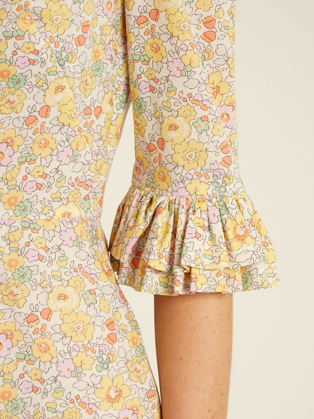 606d6752b35d THE VAMPIRE'S WIFE Festival Liberty Floral Print Cotton Pale Yellow Dress -  We Select Dresses