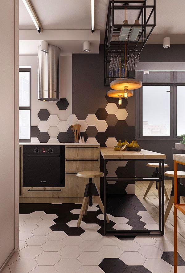 Un peque o apartamento con toques industriales a small for Cocinas pequenas industriales