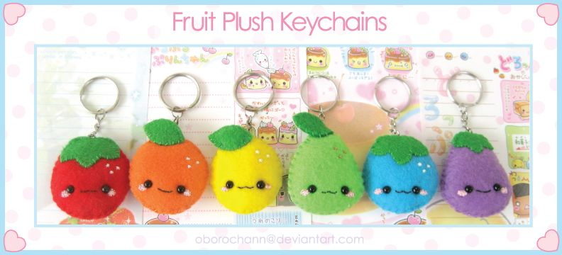 Fruit Plush Keychains by Oborochann.deviantart.com on @deviantART