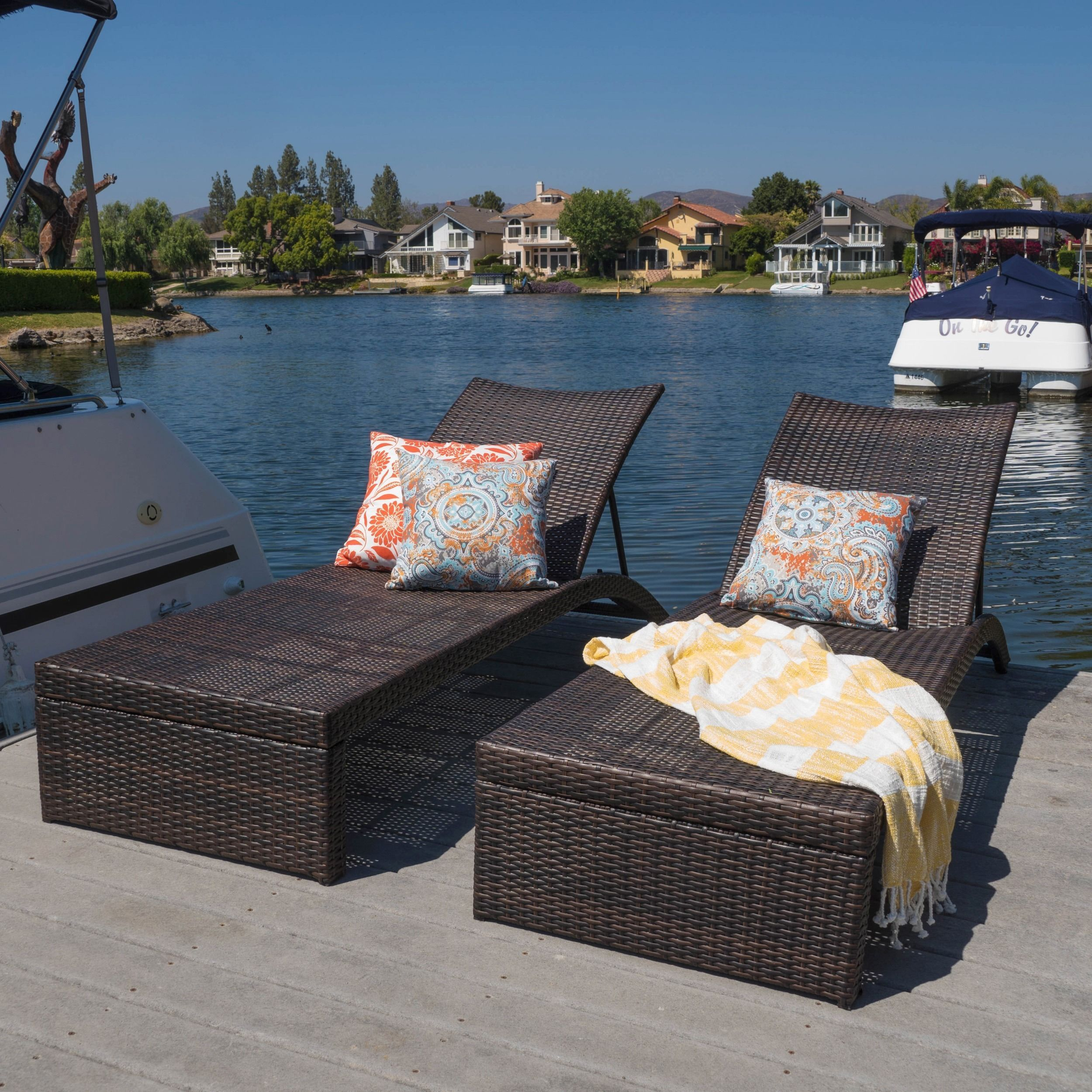 Turin Outdoor Adjustable Wicker Chaise Lounge Set Of 2 By