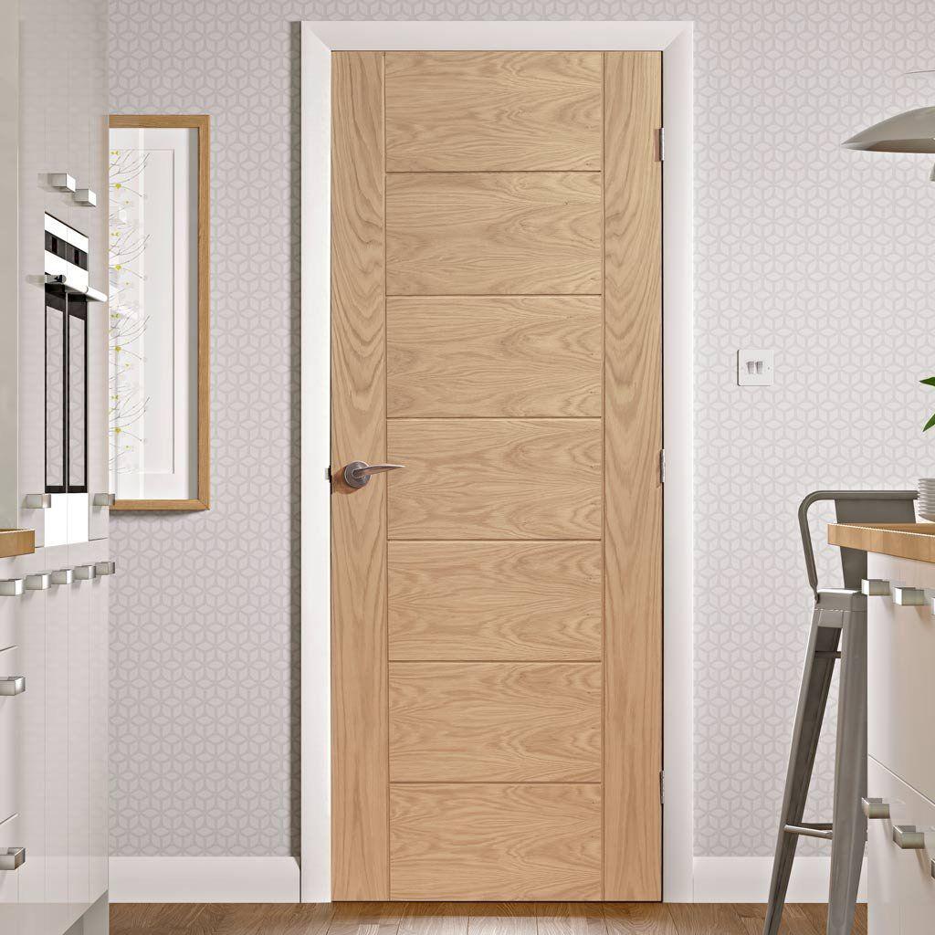 Door And Frame Kit Palermo Flush Oak Door Panelled Effect Portes Pivotantes Rangement Portes