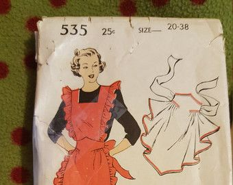 1940s New York apron pattern size 20 to 38