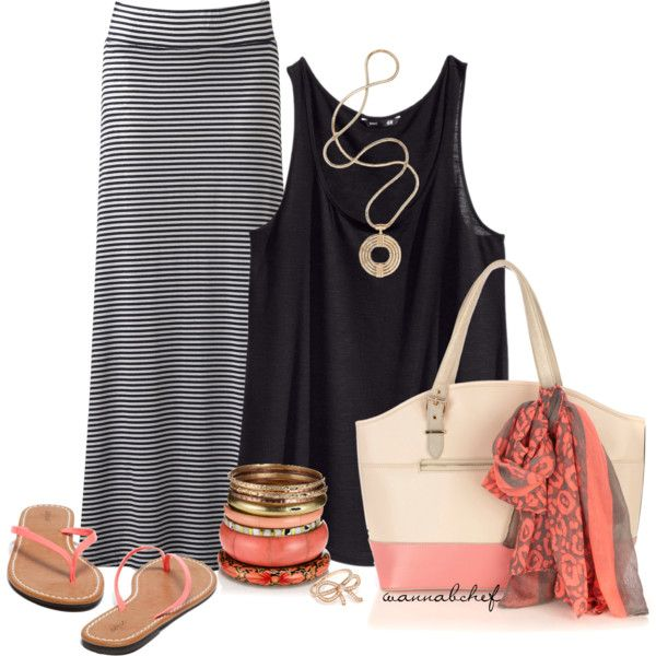 Striped Maxi Skirt, created by wannabchef on Polyvore...good way to add