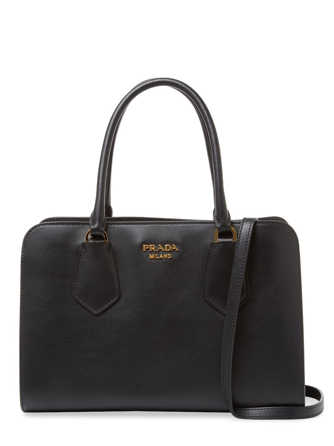 0210ea383e70d7 PRADA WOMEN'S SMALL SQUARE LEATHER TOTE - BLACK. #prada #bags #shoulder bags  #hand bags #leather #tote #lining #