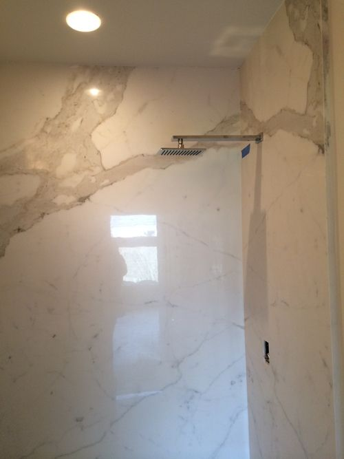 Porcelain Slab Book Matched Shower Wall Granite Shower Shabby