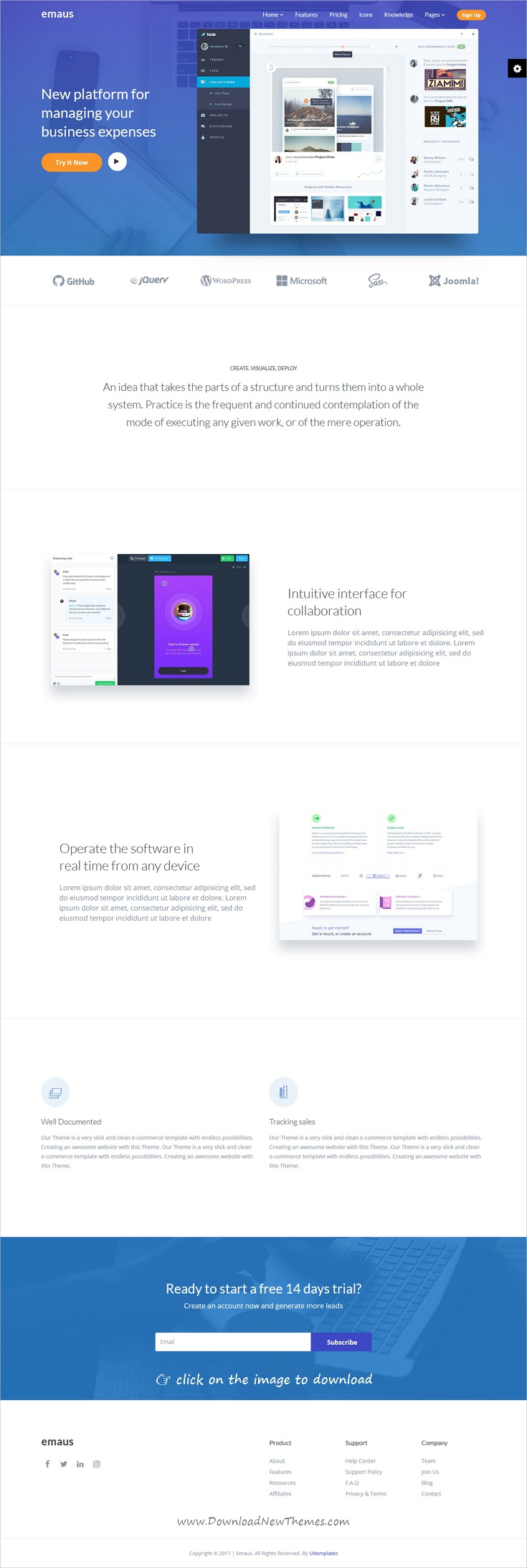 Emaus is clean and modern design 3in1 responsive Joomla