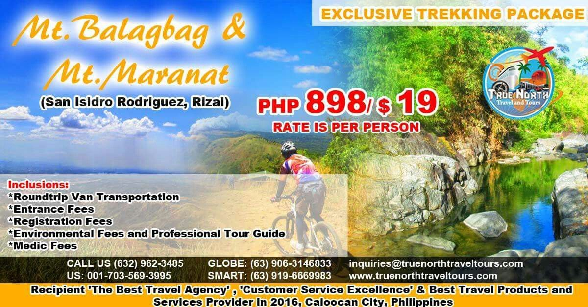 EXCLUSIVE TREKKING PACKAGE, MT BALAGBAG & MT MARANAT, RIZAL, PHILIPPINES, P898 ($19)/PERSON, SEE INCLUSIONS.