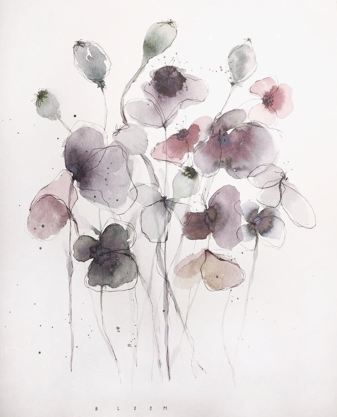 "E l i s a on Instagram: ""Ein bisschen Fast-schon-Frühling. #floral #wildflowers #pastel #botanical #watercolor #illustration #bloom #nature #aquarelle…"""