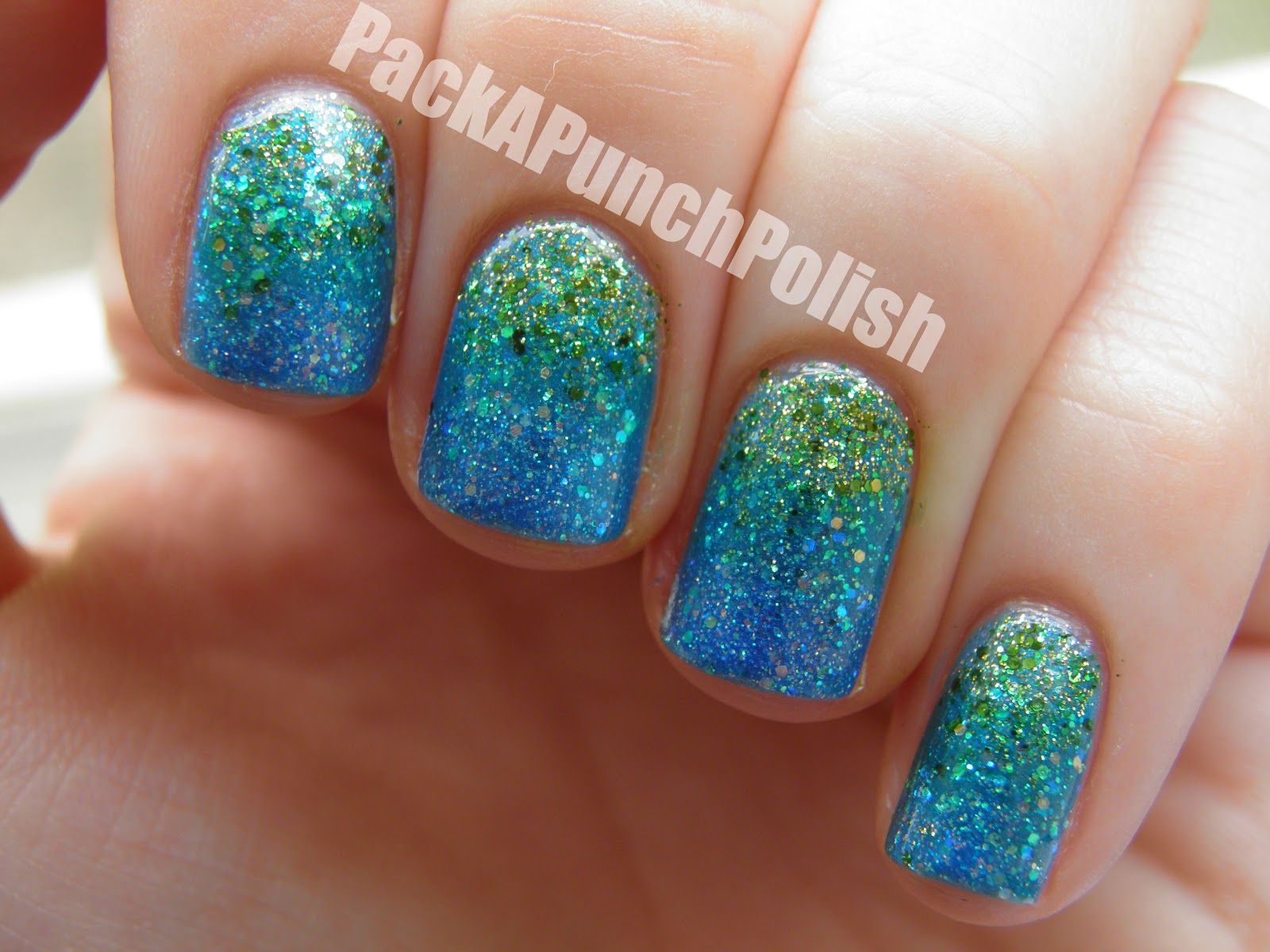 PackAPunchPolish: Blue and Green Glitter Gradient | Makeup ...