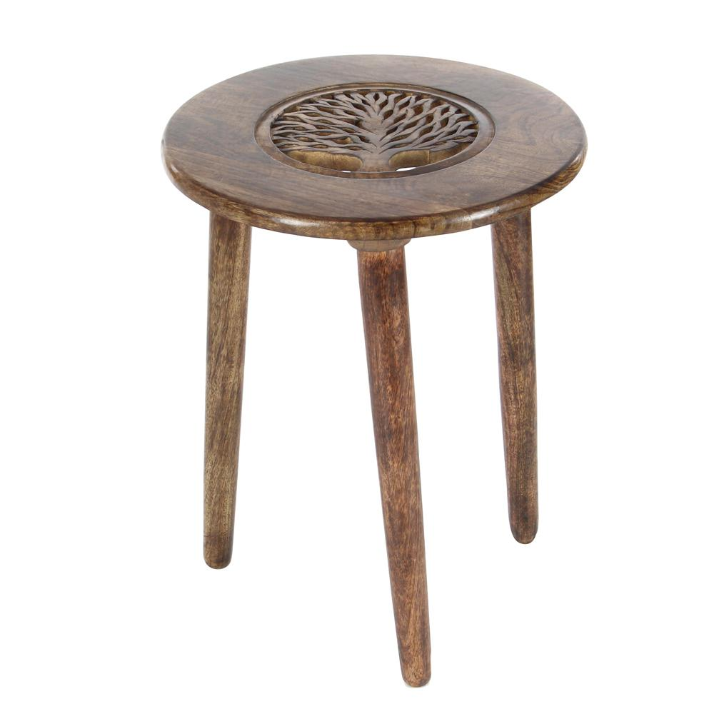 Litton Lane Brown Carved Tree Wood 3 Legged Accent Table End