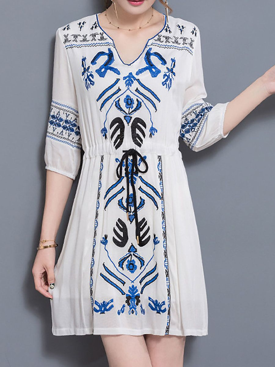 724bc9fba3 Stylewe V neck White Midi Dress Beach Dress 3/4 Sleeve Vintage Embroidered  Tribal Dress
