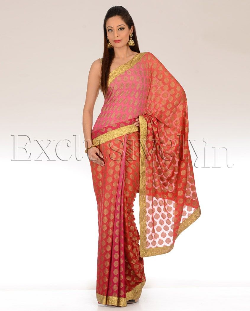 Pink & Orange Shaded Brocade Polka Dot Sari - Exclusively In