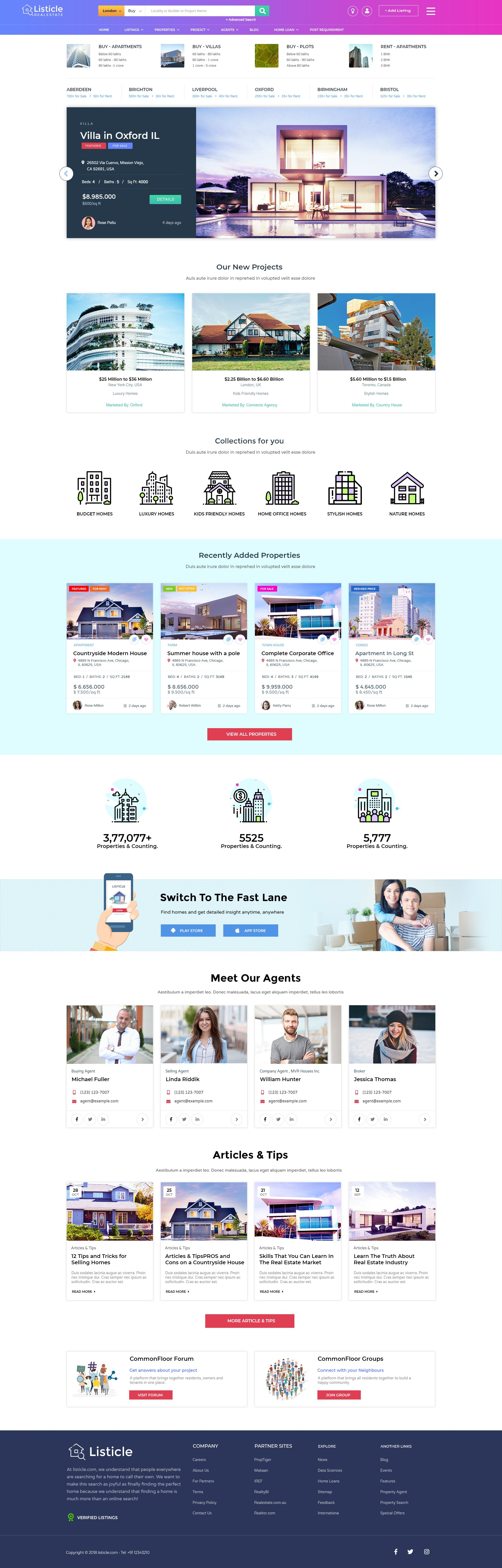 Listicle Realestate Listing Psd Template Psd Templates Psd Website Templates