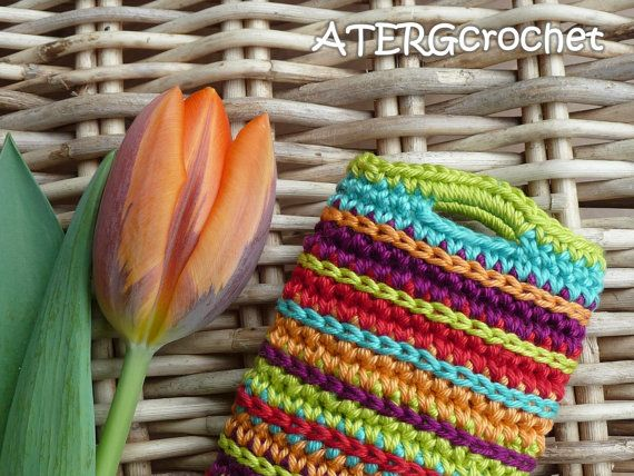 Multicolored mobile crochet case/cozy for your by ATERGcrochet, €14.00
