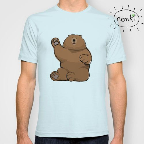 Waving bear illustrated t shirt for men and women cool clothes waving bear illustrated t shirt for men and women by nemki on etsy publicscrutiny Image collections