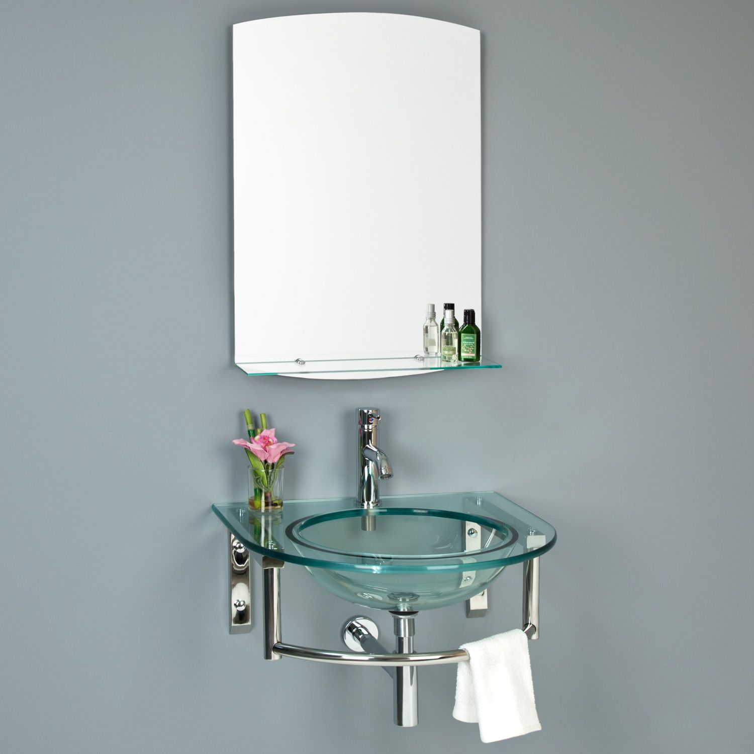 Lowry Wall-Mount Glass Sink with Mirror and Shelf | Wall mount ...