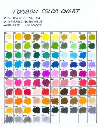 Tombow 96 Color Haindpainted Color Chart Bujo Supplies Swatches