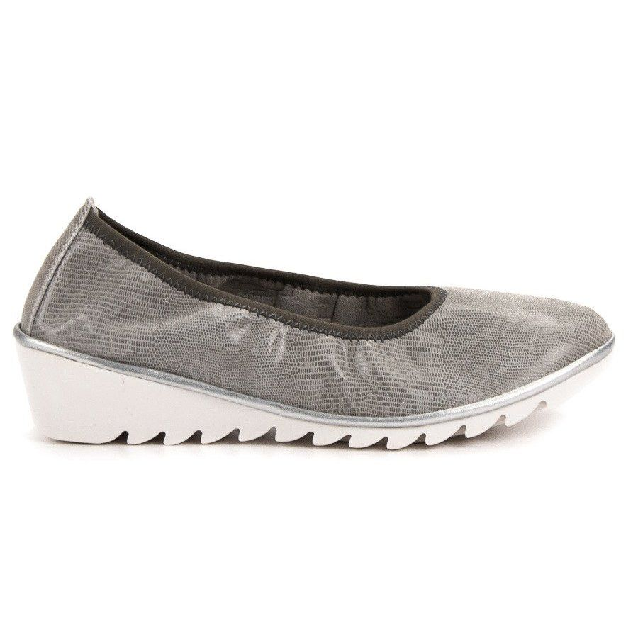 Czolenka Damskie Filippo Filippo Szare Skorzane Baleriny Na Koturnie Colorful Shoes Women Shoes Leather Wedges