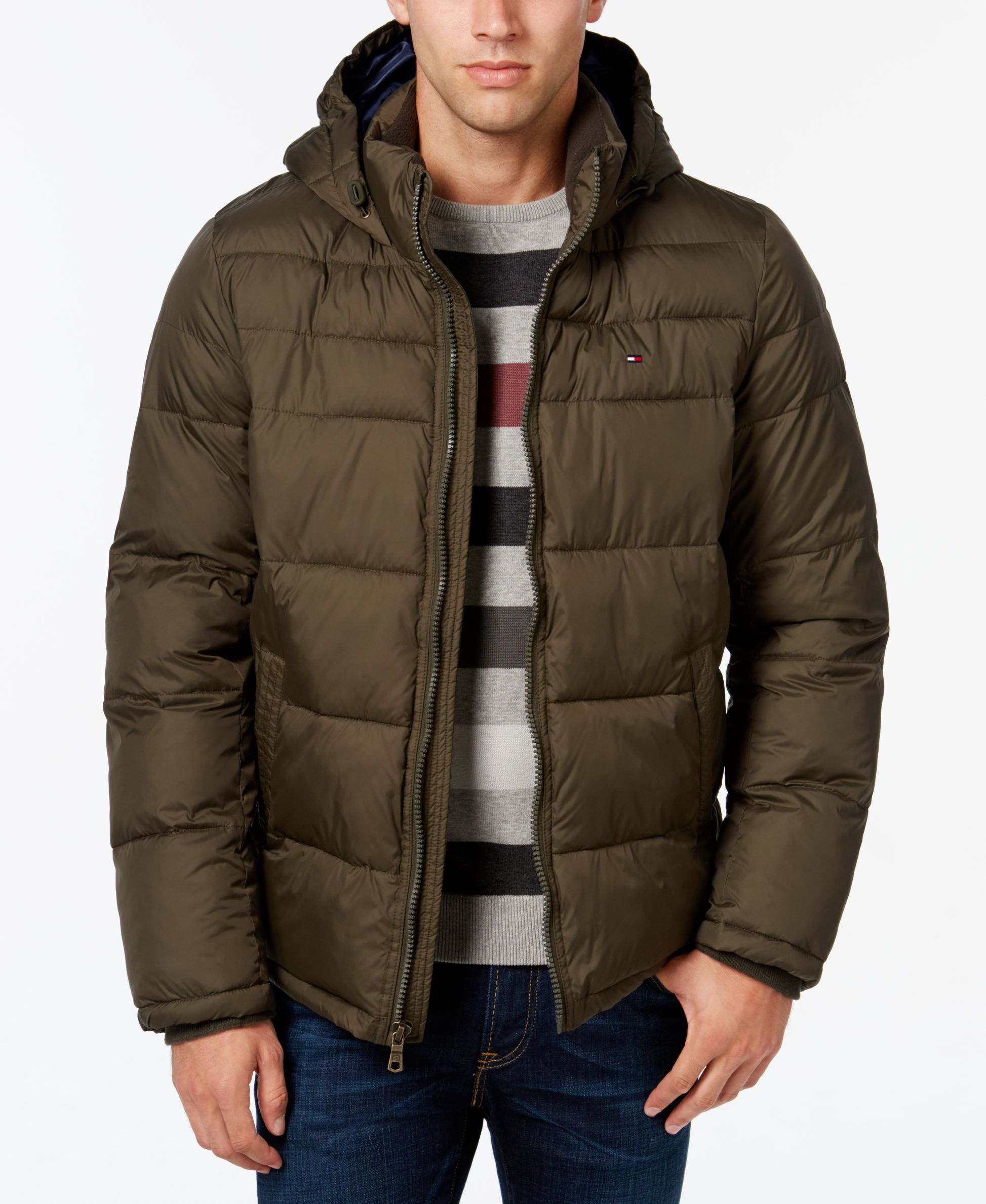 The Classic Quilted Puffer Design And Stand Collar With Faux Fleece Lining Make This Jacket From To Mens Outdoor Jackets Tommy Hilfiger Man Mens Puffer Jacket [ 2378 x 1947 Pixel ]