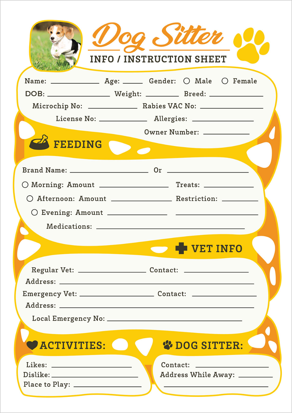 Free Dog Sitter Instruction Information Sheet Design Template Templates Free Design Design Template Sitter